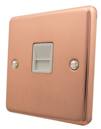 G&H CBC34W Standard Plate Bright Copper 1 Gang Slave BT Telephone Socket